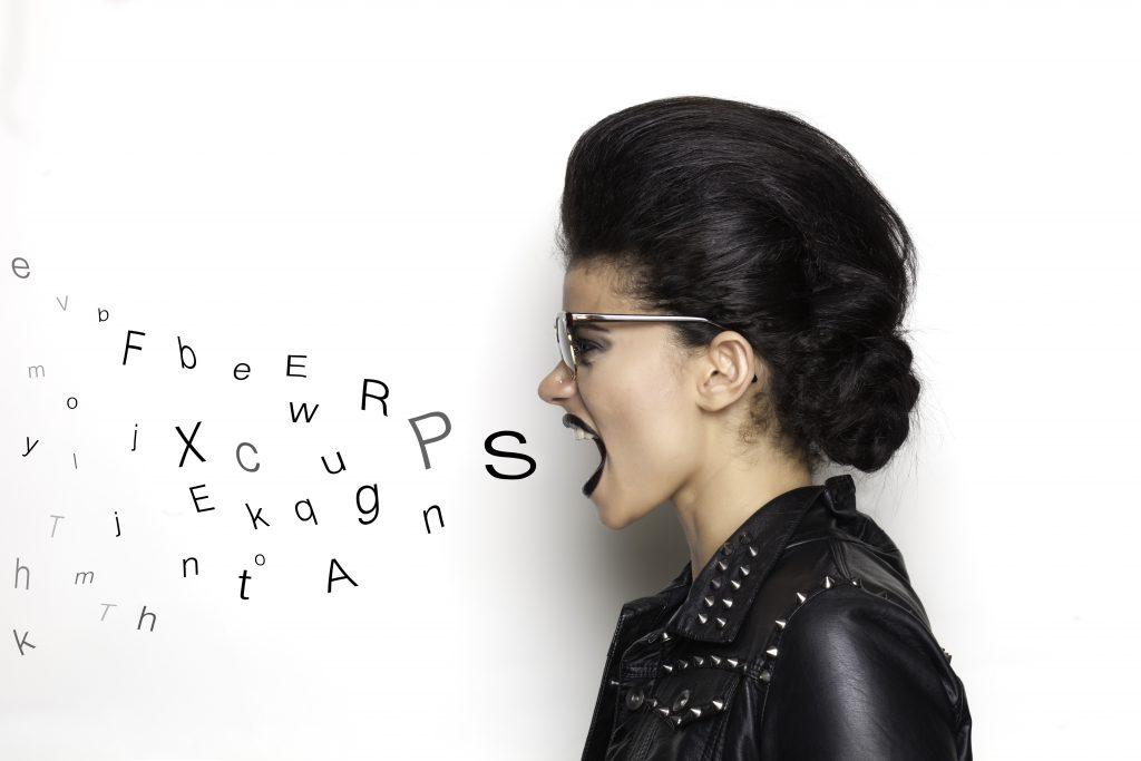 A rocker girl that screams letters