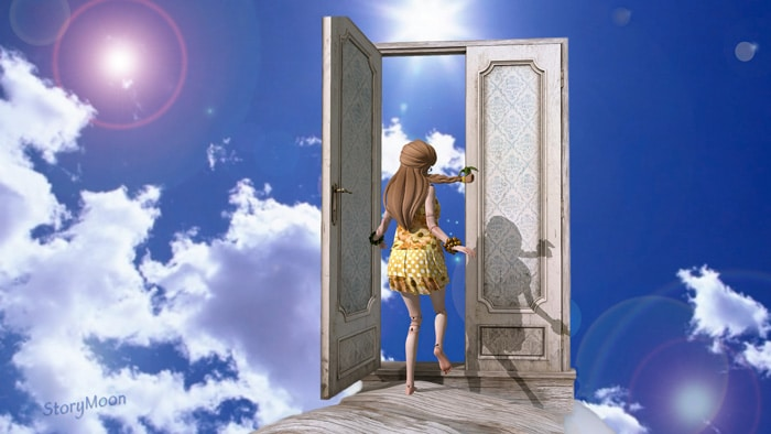 Game character walking through a door in the clouds