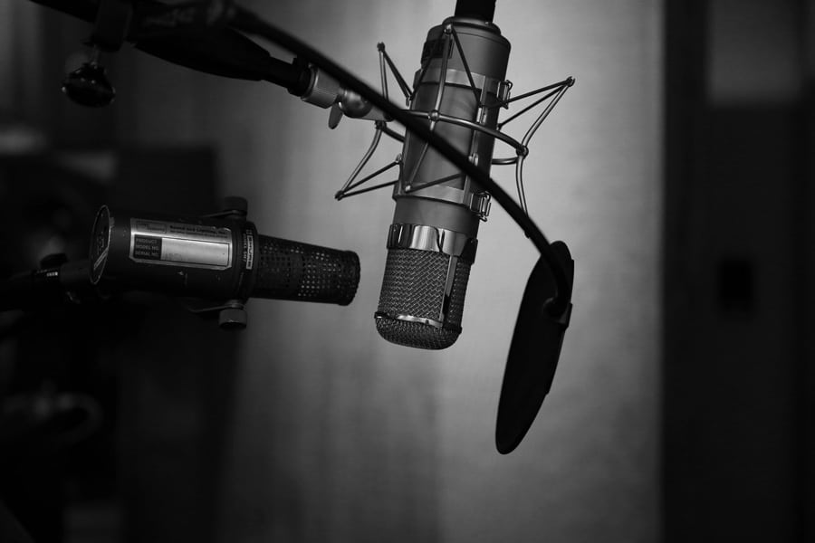 Black and white microphone if you want to become a voice over actor