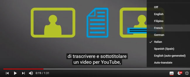 YouTube foreign language subtitles
